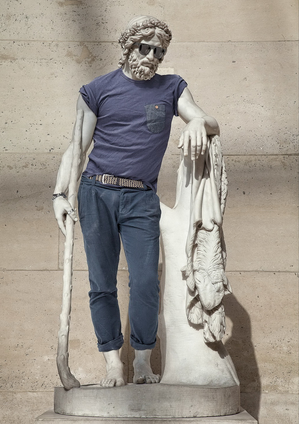 ancient-greek-statue Ancient Greeks wearing hipster clothes, courtesy of Photoshop Exposure