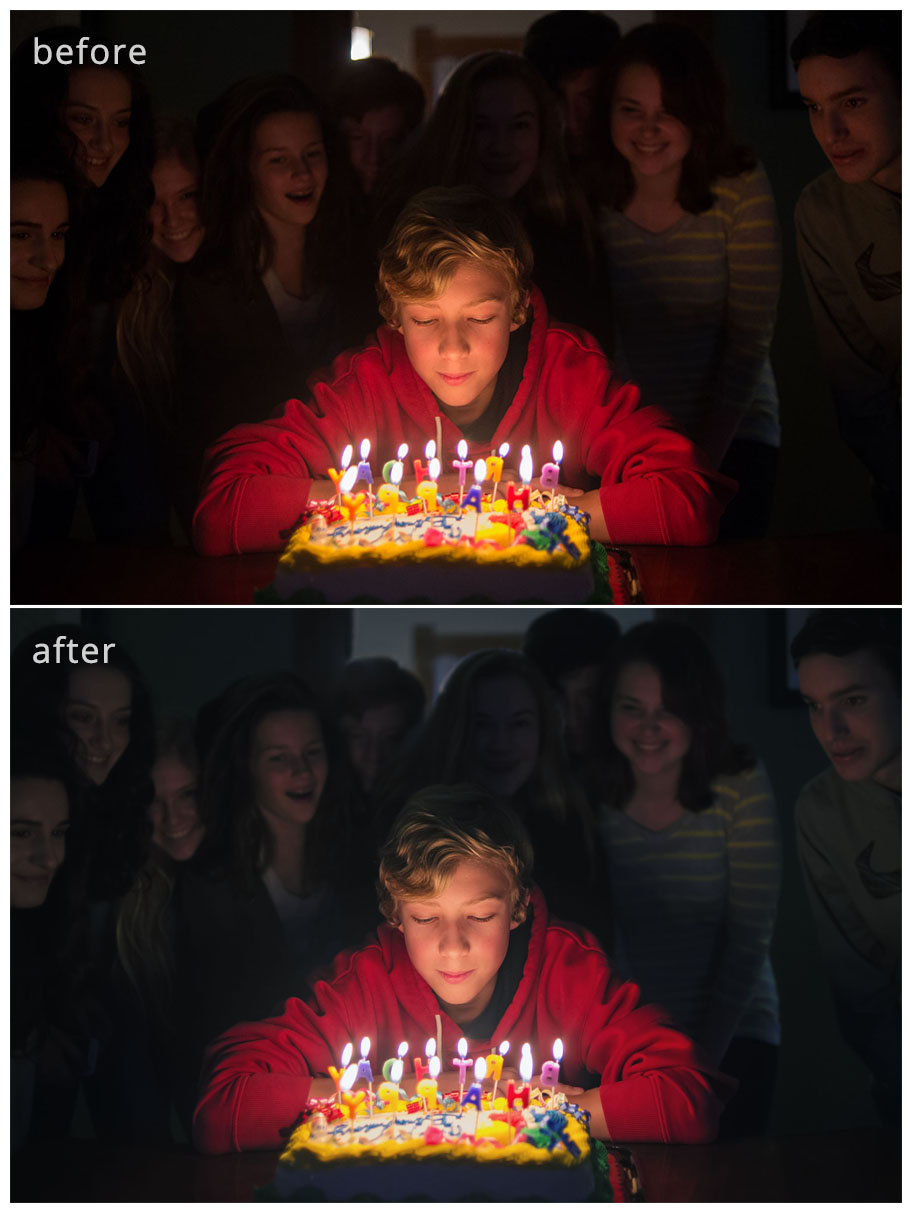 before-after-birthdaycandles How to Get the Birthday Candles Photography Shot Guest Bloggers Photo Sharing & Inspiration Photography Tips Photoshop Actions