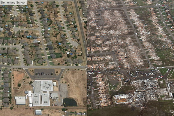 Before and after Oklahoma tornado