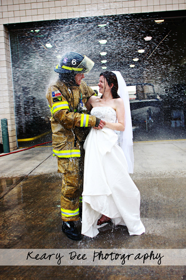 bride-and-fireman-all-wet April Showers - Photos of Rain, Umbrellas, Boots, and More... Activities Photo Sharing & Inspiration
