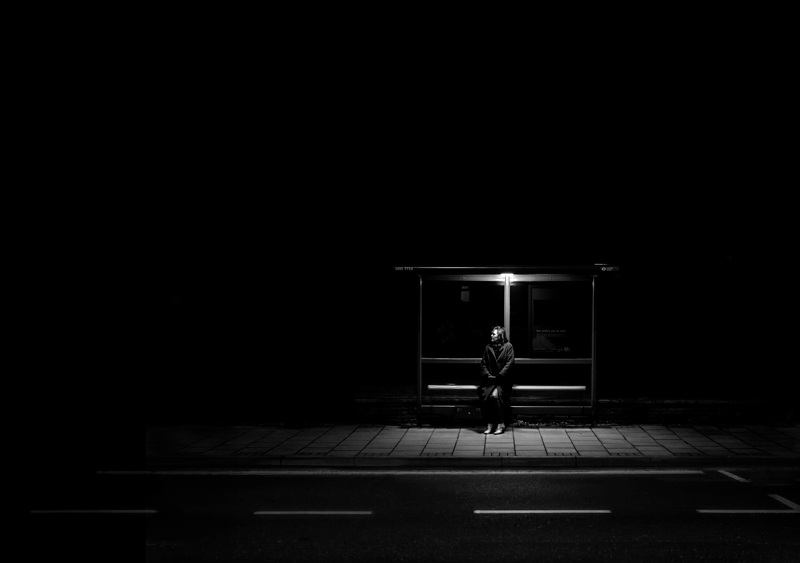 """bus-stop """"Man on Earth"""" reminds us how lonely we are in a crowded world Exposure"""