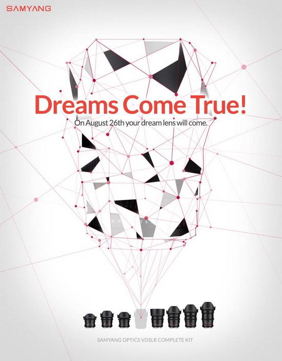 dreams-come-true Samyang 50mm cine lens set for August 26 announcement Rumors