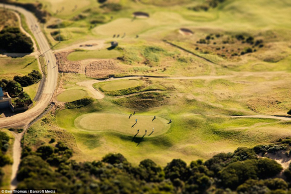 Golf players on golf course in Australia, being shrunk with the use of tilt shift.