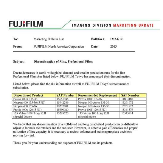 fujifilm-discontinued-films Fujifilm Neopan 400 B&W and Provia 400X films discontinued News and Reviews
