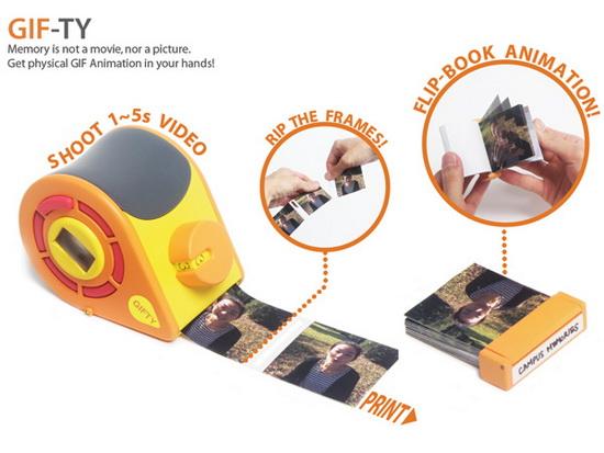gif-ty-polaroid-camera GIF-TY is a Polaroid camera which prints flipbook animations Fun