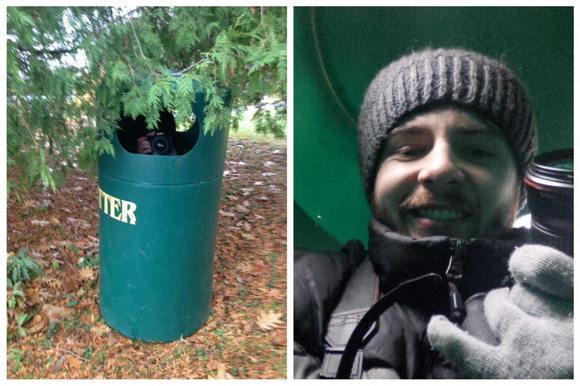 Hide in a trashcan