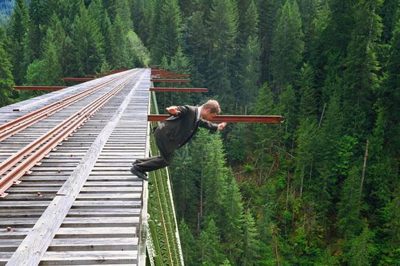Photographer taking shots of himself falling