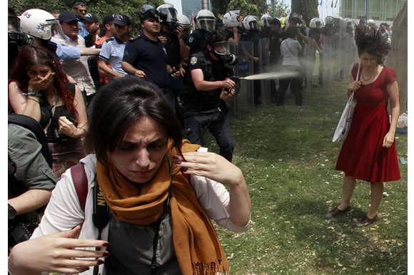 Lady in red Turkey protests symbol