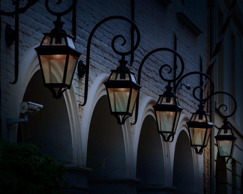lamps shot at night time