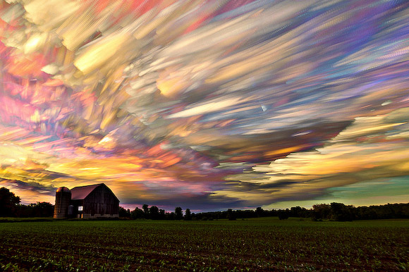 Matt Molloy's psychedelic timestack featuring 396 merged photos of a barn