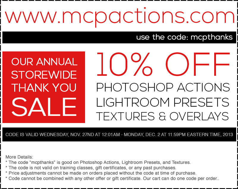 mcp-coupon-2013 Our Annual Sale Starts Now! Plus Buy Now and Pay Later Announcements Discounts, Deals & Coupons Lightroom Presets Photoshop Actions