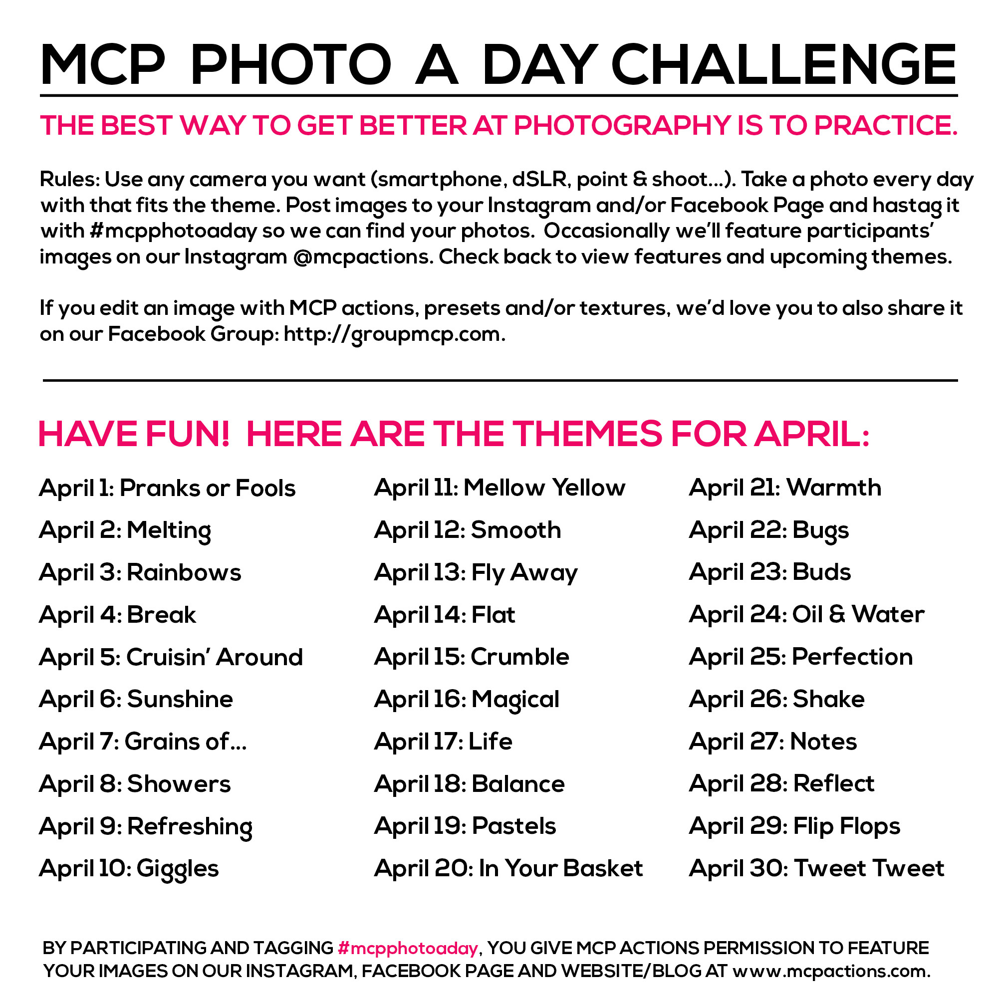 mcpphotoaday-April MCP Photo A Day Challenge: April 2015 Themes Activities Announcements Assignments