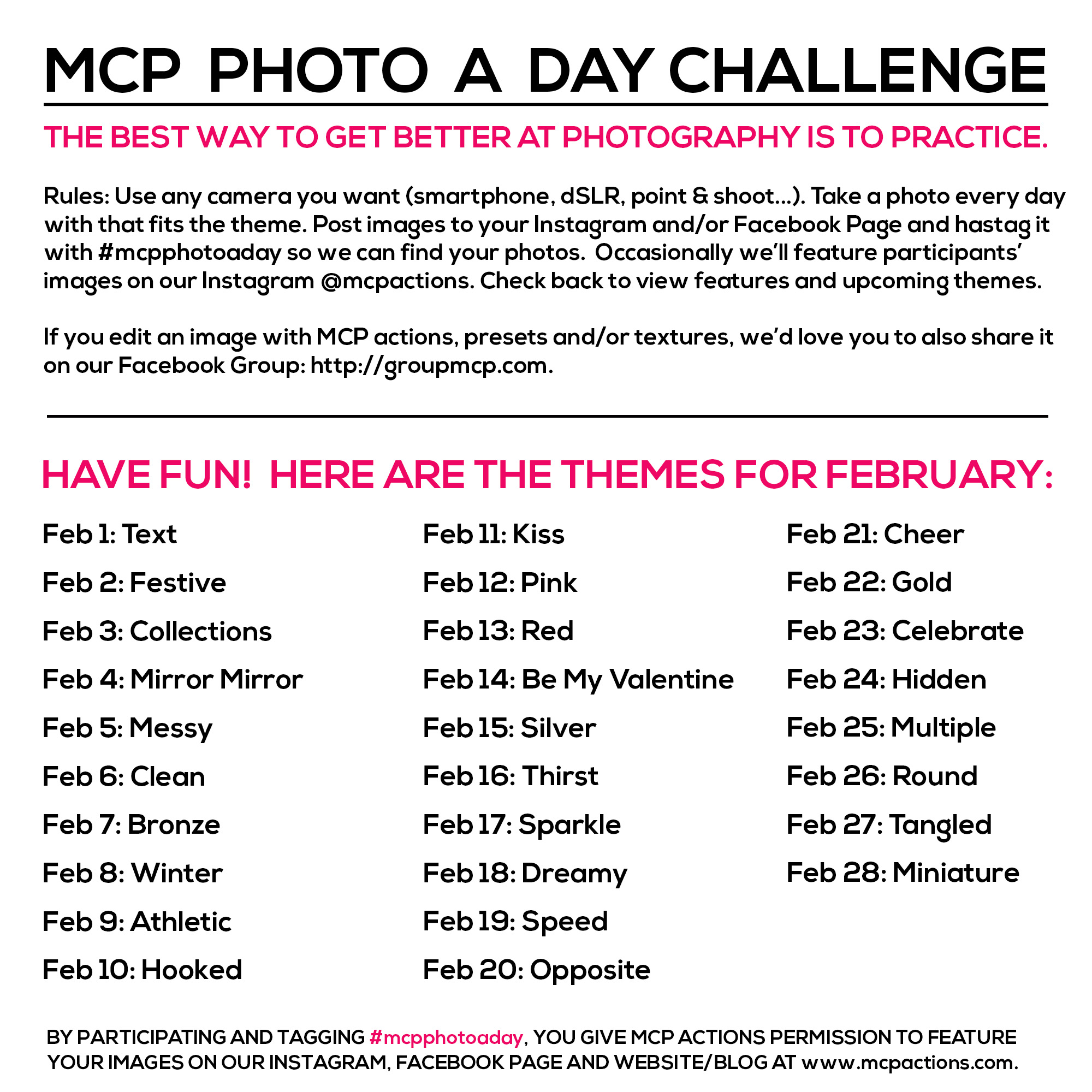 mcpphotoaday-Feb MCP Photo A Day Challenge: February Themes Activities Announcements Assignments