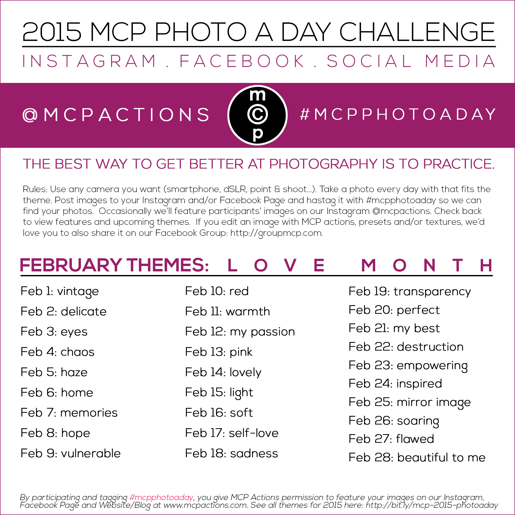 mcpphotoaday-February MCP Photo A Day Challenge: February 2015 Themes Activities Announcements Assignments