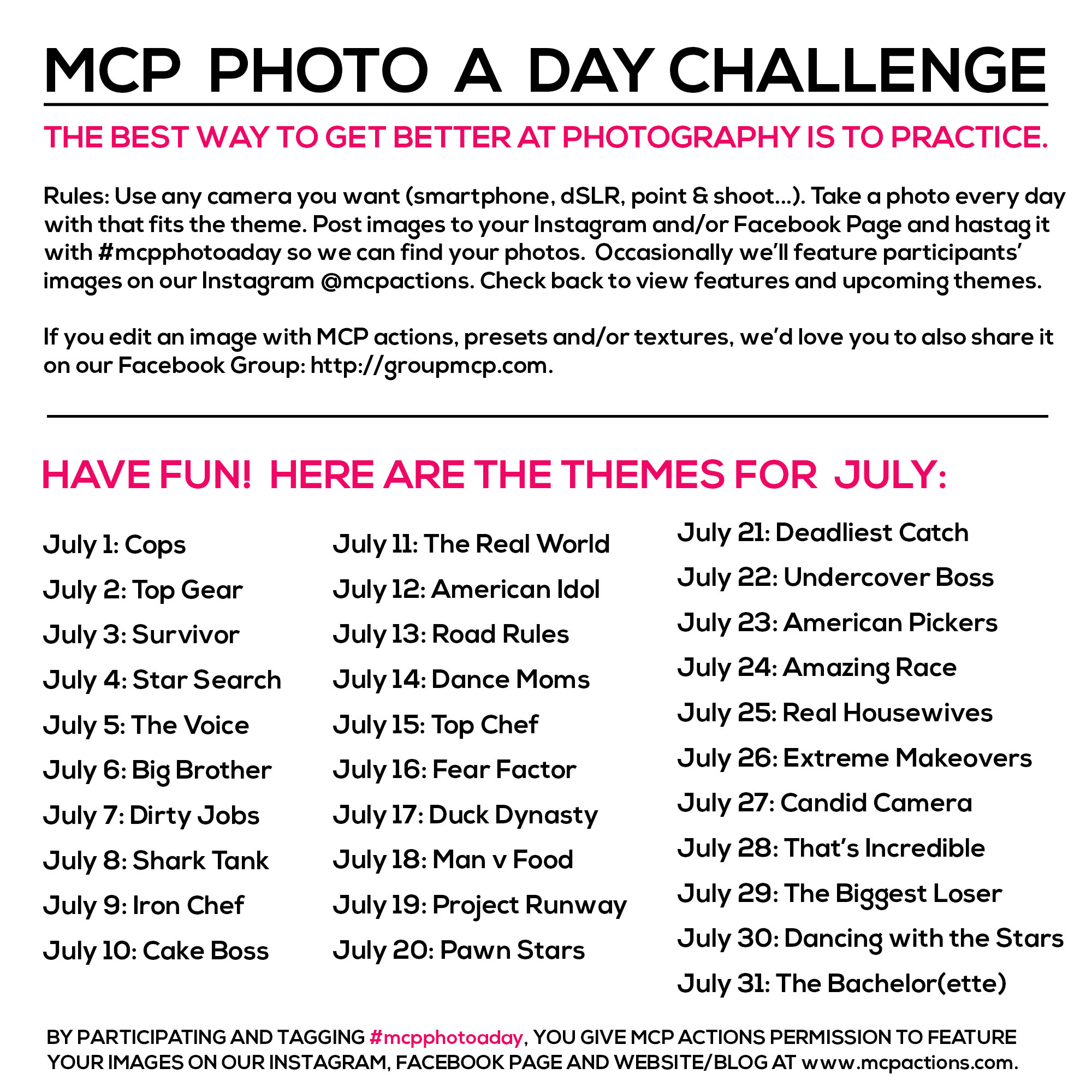 mcpphotoaday-July MCP Photo A Day Challenge: July Themes Activities Announcements Assignments