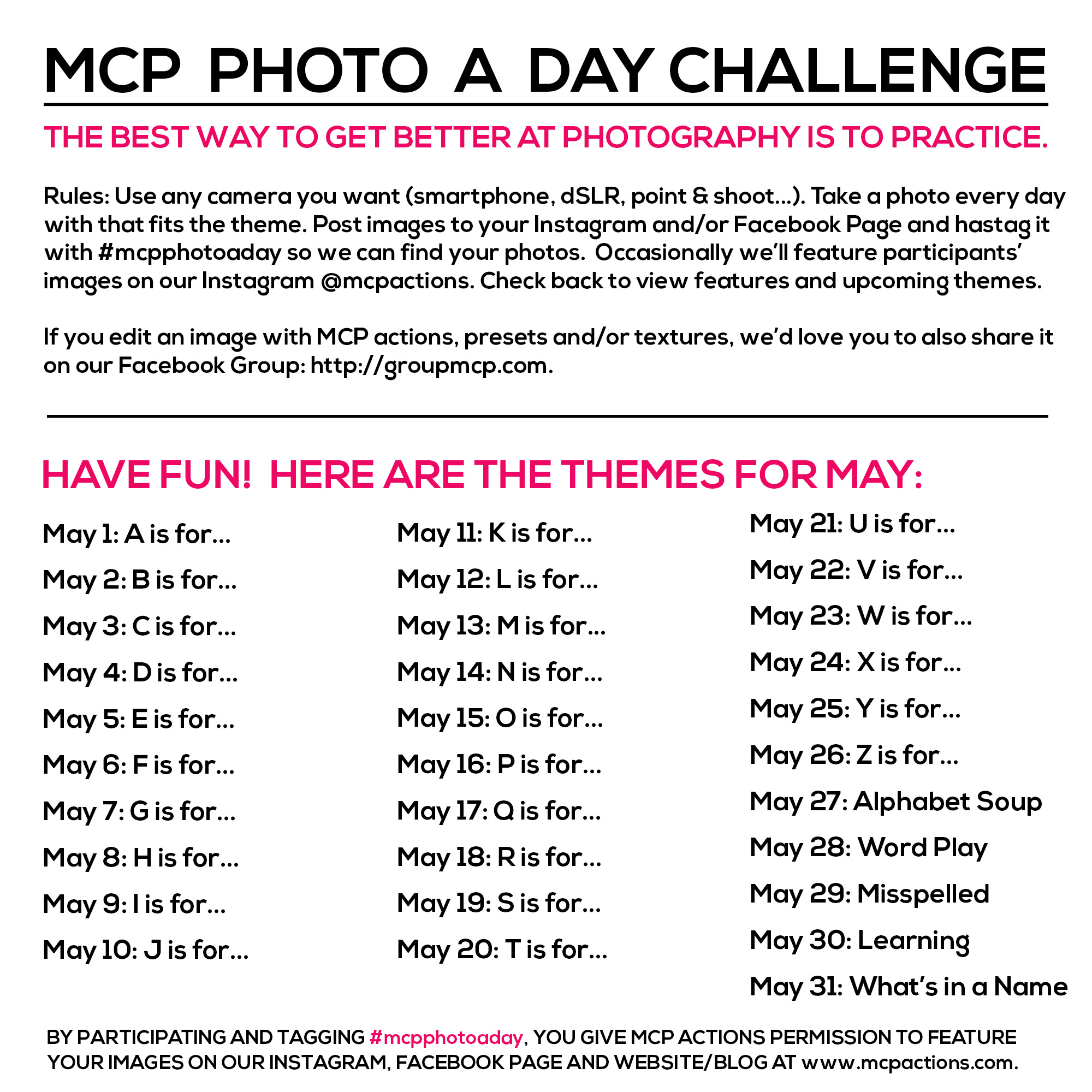 mcpphotoaday-May MCP Photo A Day Challenge: May Themes Activities Announcements Assignments