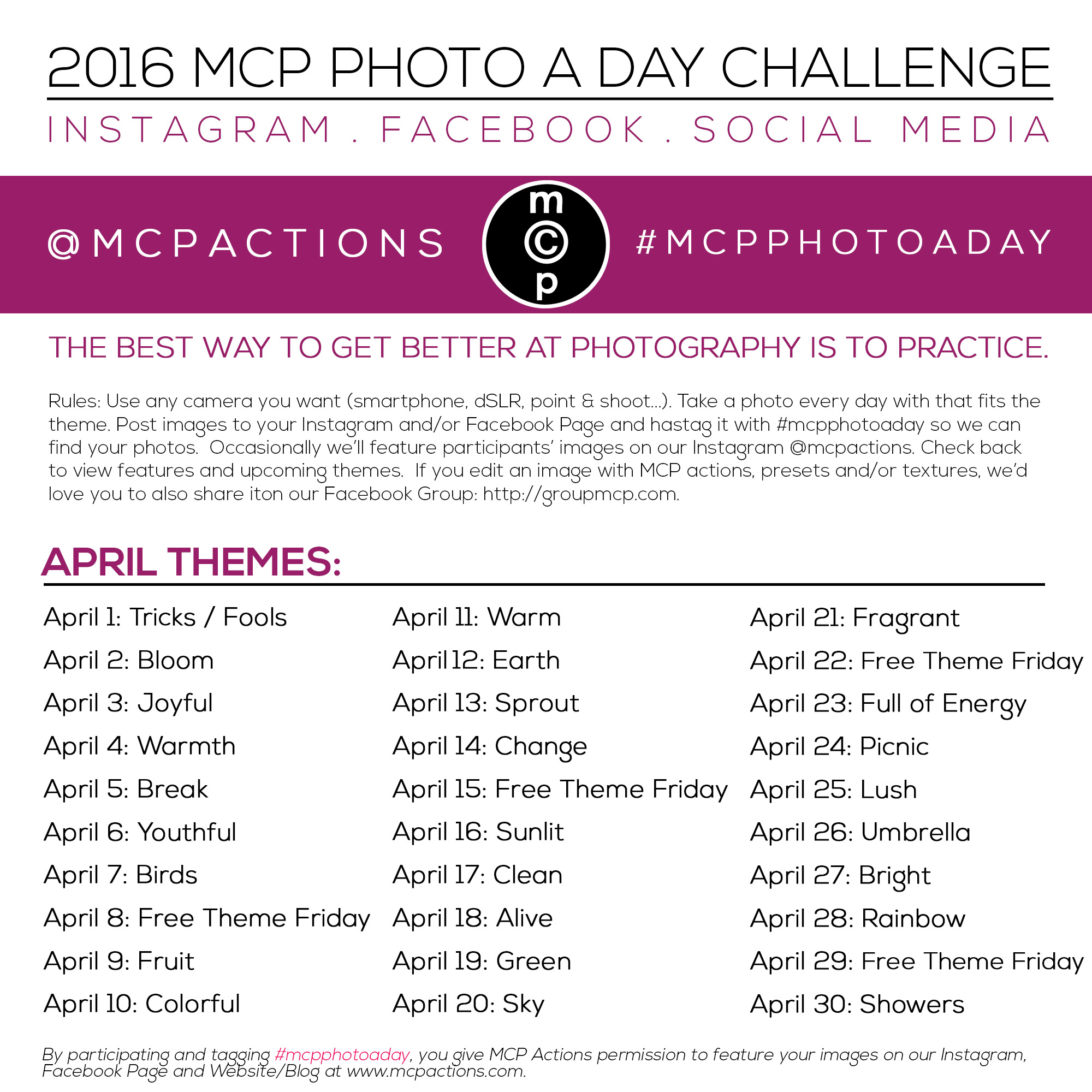 mcpphotoaday-april-2016 MCP Photo A Day Challenge: April 2016 Activities Announcements Assignments