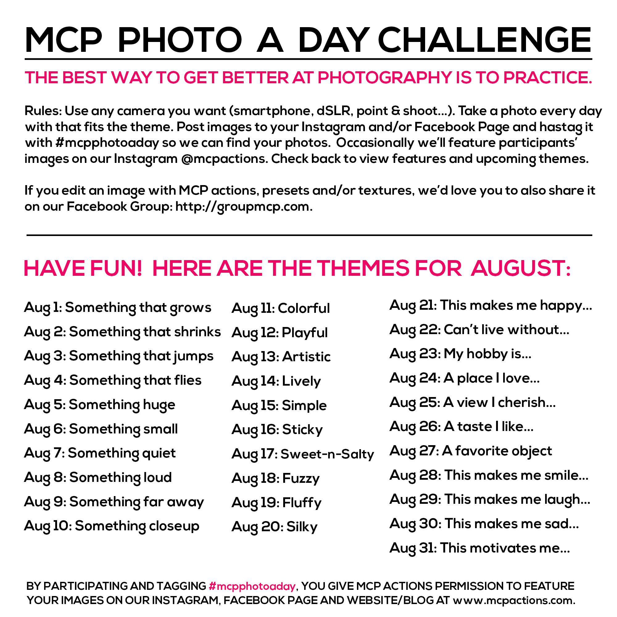 mcpphotoaday-august MCP Photo A Day Challenge: August 2015 Themes Activities Announcements Assignments