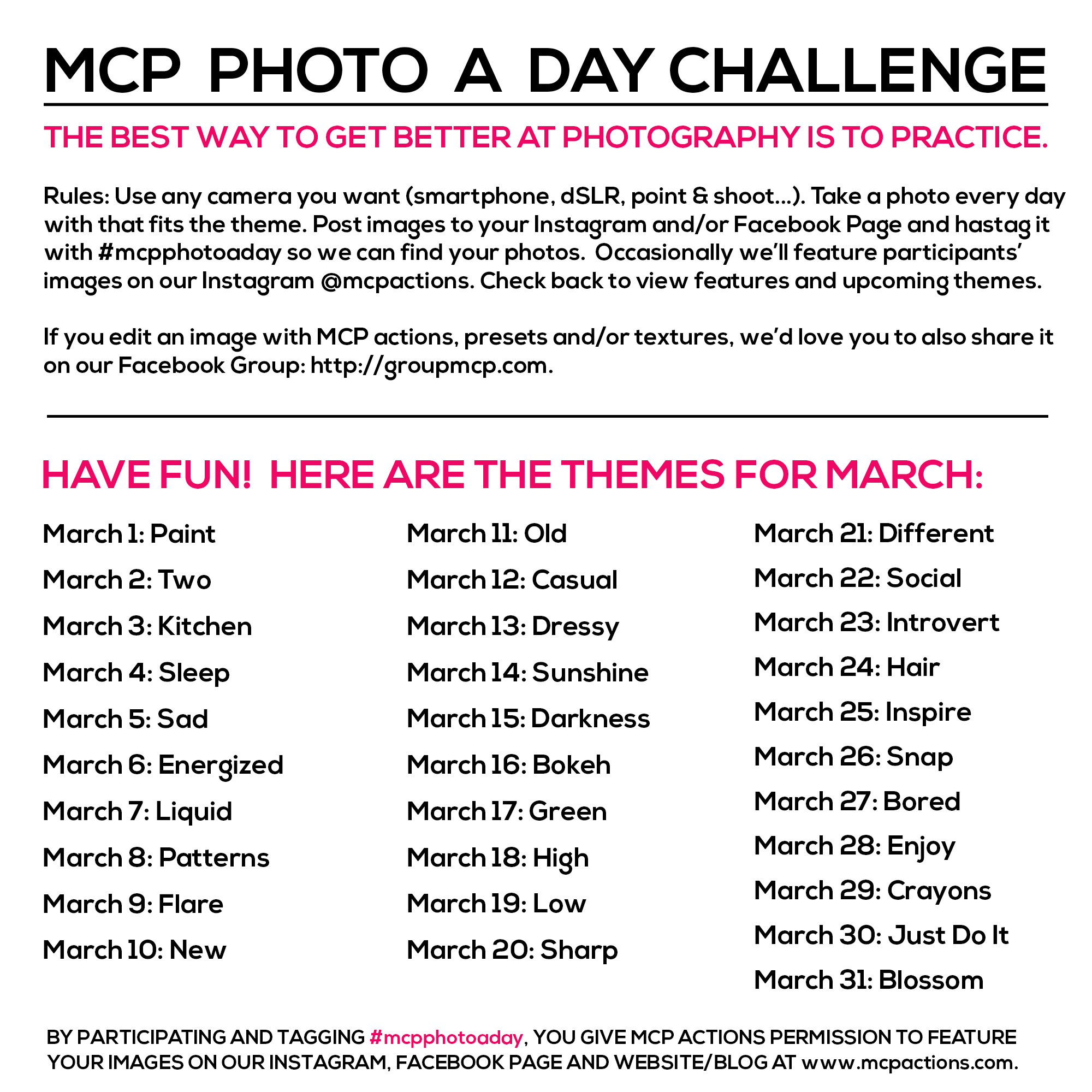 mcpphotoaday-march MCP Photo A Day Challenge: March Themes Activities Announcements Assignments