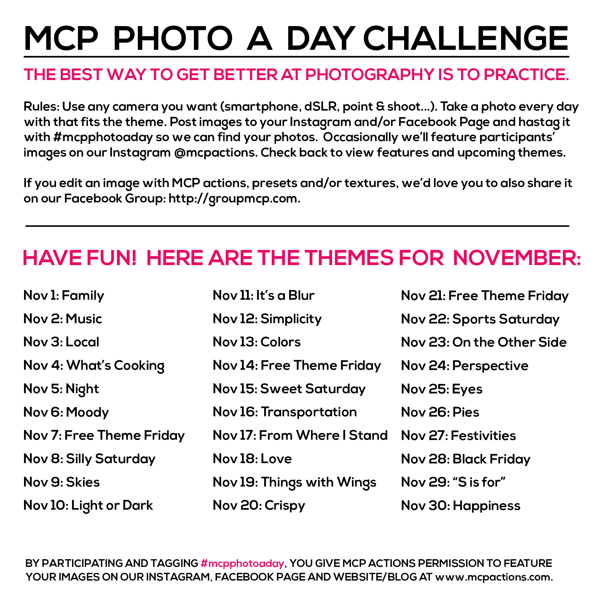 mcpphotoaday-november MCP Photo A Day Challenge: November 2015 Themes Activities Announcements Assignments