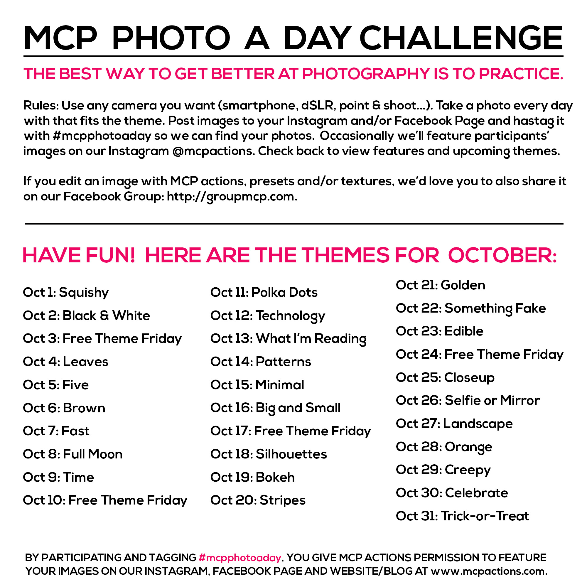 mcpphotoaday-october MCP Photo A Day Challenge: October Themes Activities Announcements Assignments