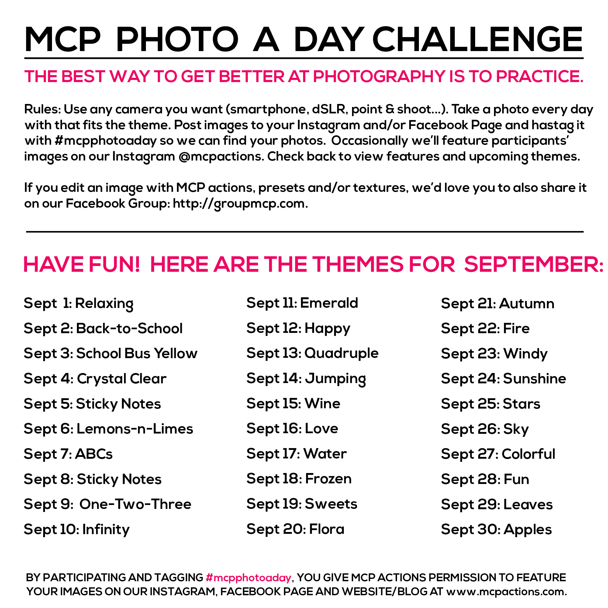 mcpphotoaday-september MCP Photo A Day Challenge: September Themes Activities Announcements Assignments