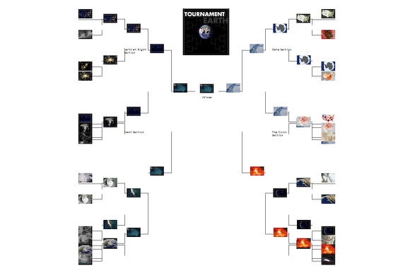 NASA Photo Tournament graphic with winner in center