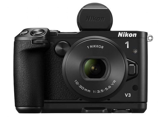 nikon-1-v3-evf-grip Nikon 1 V3 announced with 18.4MP sensor and WiFi, but no EVF News and Reviews