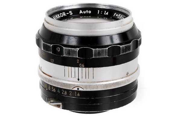 A Nikon Nikkor 58mm f/1.4 lens released in the past