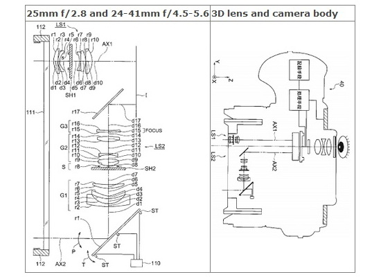 olympus-3d-lens-patent Olympus patents 25mm f/2.8 and 24-41mm f/4.5-5.6 3D lens Rumors
