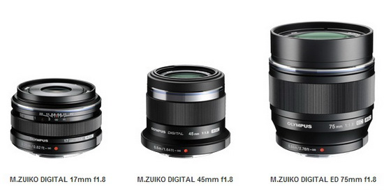 olympus-black-17mm-45mm-75mm-f1.8-lenses Olympus Black 17mm, 45mm, and 75mm f/1.8 lenses announced News and Reviews