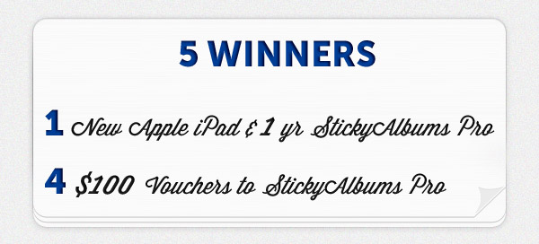 prizes1 Photographer Giveaway: Win The New iPad + StickyAlbums Business Tips Contests Discounts, Deals & Coupons Photo Sharing & Inspiration