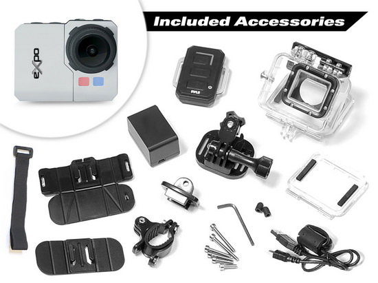 pyle-expo-hd-accessories Pyle eXpo HD action camera unveiled with built-in WiFi News and Reviews