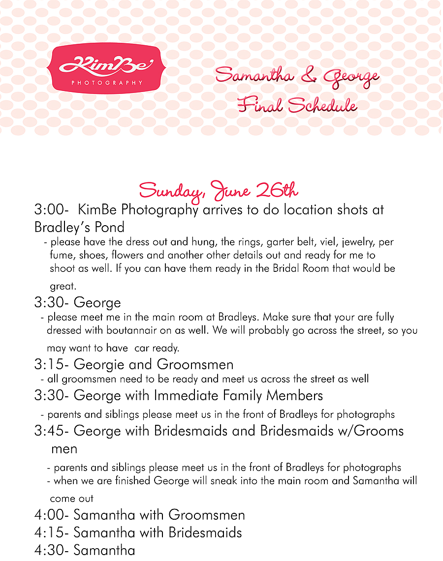 samanthaandgeorgeschedule-1web Successful Wedding Photography = Perfect Timing + Preparation Business Tips Photography Tips
