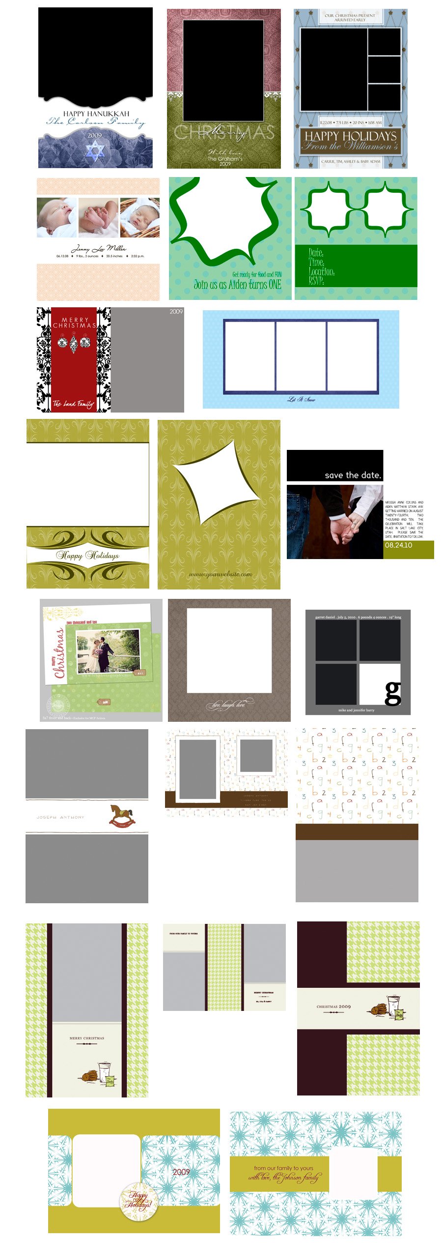 sample2-ad Last Card & Template Workshop for 2009 * 26 CARDS INCLUDED {November 18th} Announcements Photography Tips