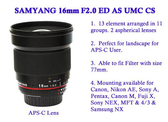 samyang-16mm-f2-ed-as-umc-cs-lens Samyang 16mm f/2 ED AS UMC CS lens officially announced News and Reviews