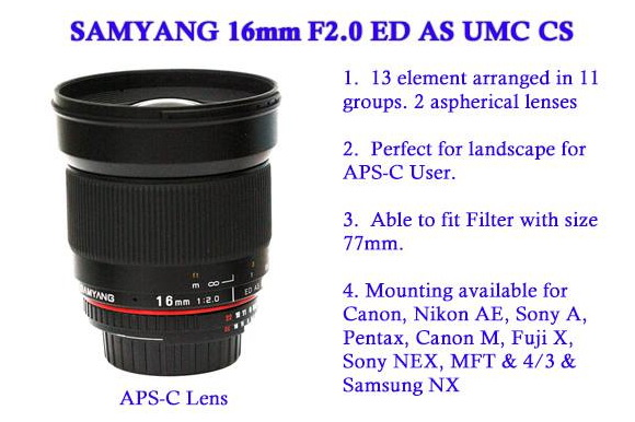 Samyang 16mm f/2 ED AS UMC CS wide-angle lens