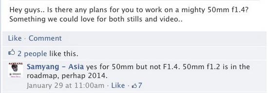 samyang-50mm-f1.2-lens-2014-roadmap Samyang 50mm f/1.2 lens confirmed for 2014 via Facebook News and Reviews