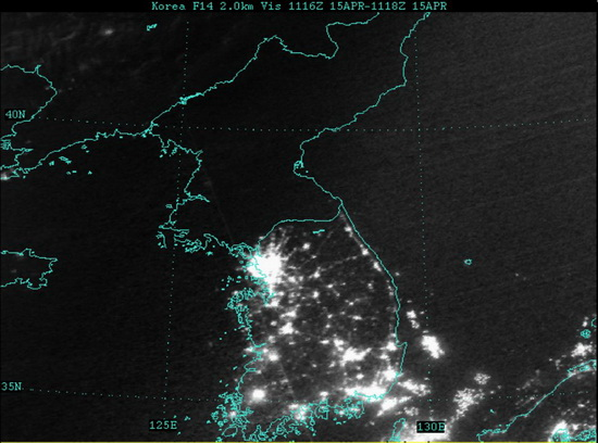 south-north-korea-at-night East / West Germany division can still be seen from space Fun