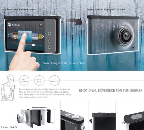 spectrum-concept-camera-flexible-display Chameleon-inspired Spectrum Camera Concept features a flexible display Exposure