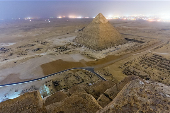 The top of the Great Pyramid of Giza offers an impressive view, as the landscape is breathtaking