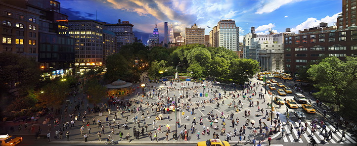 "union-square ""Day To Night"" shows what happens in New York City in a day Exposure"