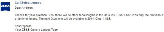zeiss-85mm-f1.4-otus Zeiss Otus 85mm f/1.4 lens to be released in 2014 News and Reviews
