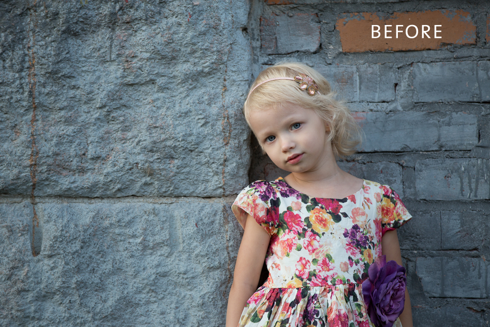 Girl_in_Floral_Dress_before Softening Color with Matte Effect through MCP Baby Steps Presets